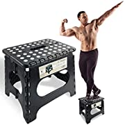 """#LightningDeal Spranster Super Strong Folding Step Stool - 11"""" Height - Holds up to 300 Lb - The Lightweight Foldable Step Stool is Sturdy Enough to Support Adults and Safe Enough for Kids"""
