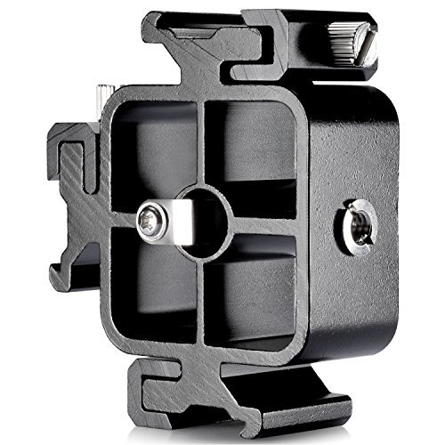 Neewer Aluminium Alloy Triple Three Universal Cold Shoe Mount Bracket for Canon Nikon and Other DSLR Cameras or Camcorder Accessory Such as LED Video Light,Microphone,Monitor,Flash