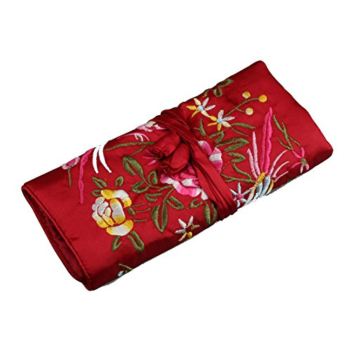 Zarachilable Soft Silk Embroidery Brocade Peony Floral Print Fabric Jewelry Roll Travel Organizer (wine red)