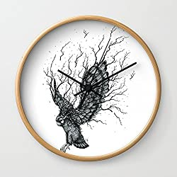 Society6 Forest Owl B+W Wall Clock Natural Frame, Black Hands