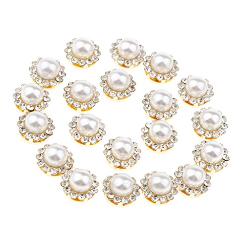- Fenteer 20 Pieces Flower Faux Pearl Rhinestone Flatback Buttons for Craft Wedding Dress - 12mm