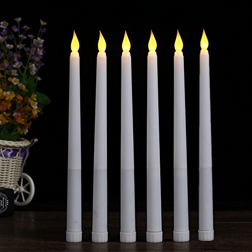 Acmee (Set of 6) 11 inch LED Flameless Taper Candle for Dinner, Flickering Flameless Tapered Candles,Battery Operated LED Centerpieces Table Settings Weddings Birthday Parties ()