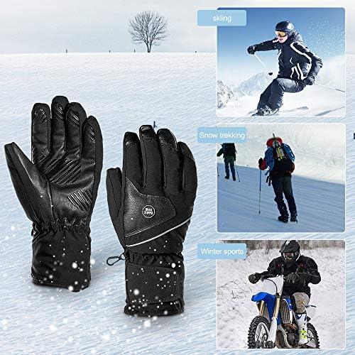 EFFUN Ski Gloves, Winter Ski Gloves for Men Women, Double Layer Thicken Warm Waterproof Snowboard Gloves for Cold Weather Outdoor
