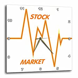 3dRose dpp_43845_3 Stock Market Words N Graph-Wall Clock, 15 by 15-Inch