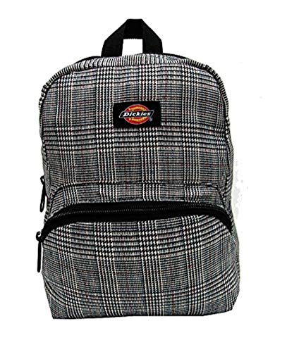 Dickies Plaid Mini Backpack Glen Plaid Material & Knit Cap Bundle ()