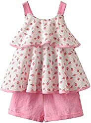 EVAN Little Girls Outfits Summer Holiday Pink Floral Halter Tops and Short Clothes Sets