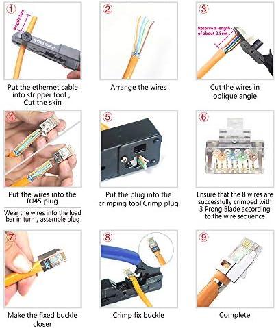 VCELINK Cat7 RJ45 Pass Through connectors 30 Pack, 2-Piece CAT6A RJ45 Plugs Metal Shielded, EZ RJ45 8P8C Modular Plug with CAT7 CAT6A Strani Relief Boots-Orange