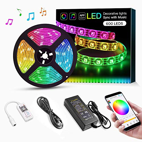 - RGB LED Strip Lights, 16.4ft 12V Smart LED Strip, SMD 5050 300 LEDs Color Changing Tape Lights Kit with Bluetooth Controller for Room Lighting, Flexible Music LED Strip Lights for Home Decoration