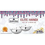 MM Elite Handi With Lid Set Of 2, Stainless Steel Kadhai With Lid Set Of 2, Foodsafe,Microwave Safe,Mirror Finish,