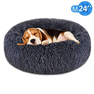 FOCUSPET Dog Bed Donut, Faux FurCuddler Bed Size Medium 24'' for Cats & Dogs Round Ultra Soft WashableSelf Warming Pet Cuddler Beds