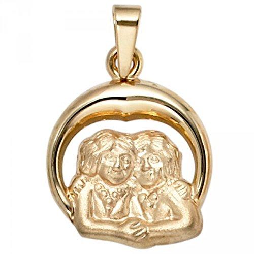 Pendentif signe du zodiaque Gémeaux en or jaune 375