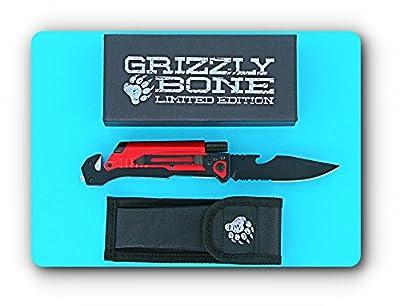 New 6-in-1 Best Survival Knife Ultimate Survival Tool Zombie Survival Kit Tactical Folding Knife Seatbelt Cutter Glass Breaker Fire Starter LED Light Bottle Opener Hunting Camping Rambo Knife