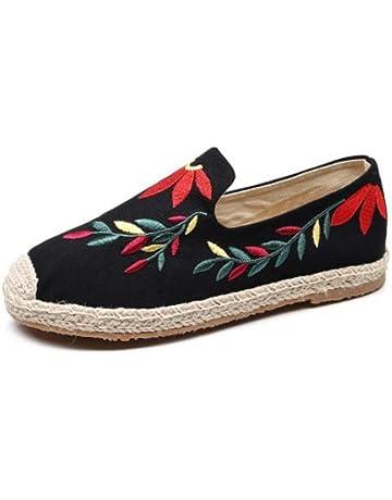 YOPAIYA Alpargatas Alpargata De Las Mujeres Idea De Costura Roja Y Azul Zapatos De Bordar Zapatillas
