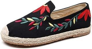 YOPAIYA Alpargatas Alpargata De Las Mujeres Patrón De Sauce Negro Zapatos De Bordar Cómodos Zapatillas Damas para Mujer Zapatos Casuales Lona De Cáñamo De Lino Transpirable