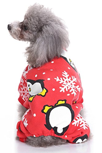 Shih Tzu In Teddy Costume (MaruPet Christmas Fancy Penguin Dogs Cats Warm Pajama Costumes for Teddy, Pug, Chihuahua, Shih Tzu, Yorkshire Terriers, Papillon N-Red)