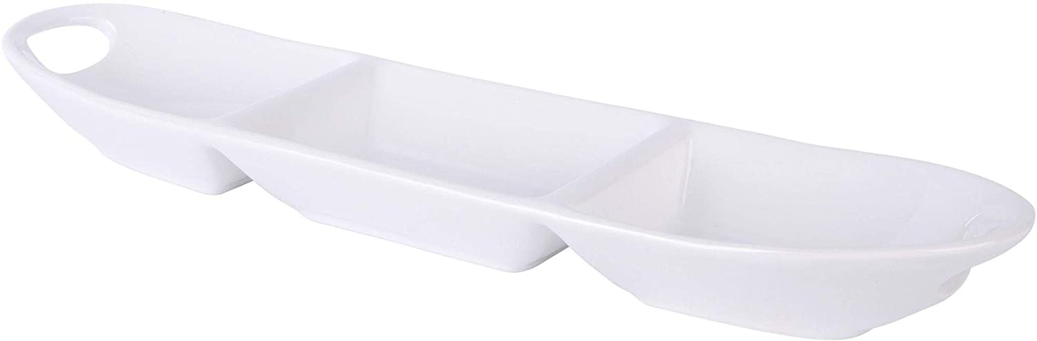 Home essentials20067 18 Length 3 Section Thin Oval Platter With Handle, Pure White