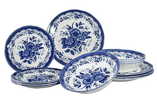Tudor Royal Collection 12-Piece Premium Quality Porcelain Dinnerware Set, Service for 4 – Victoria BLUE; See More…