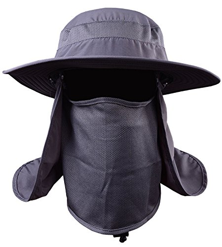 YOYEAH Fashion Outdoor Sun Protection Fishing Cap Neck Face Flap Hat Wide Brim Dark - Ray Lincoln Head