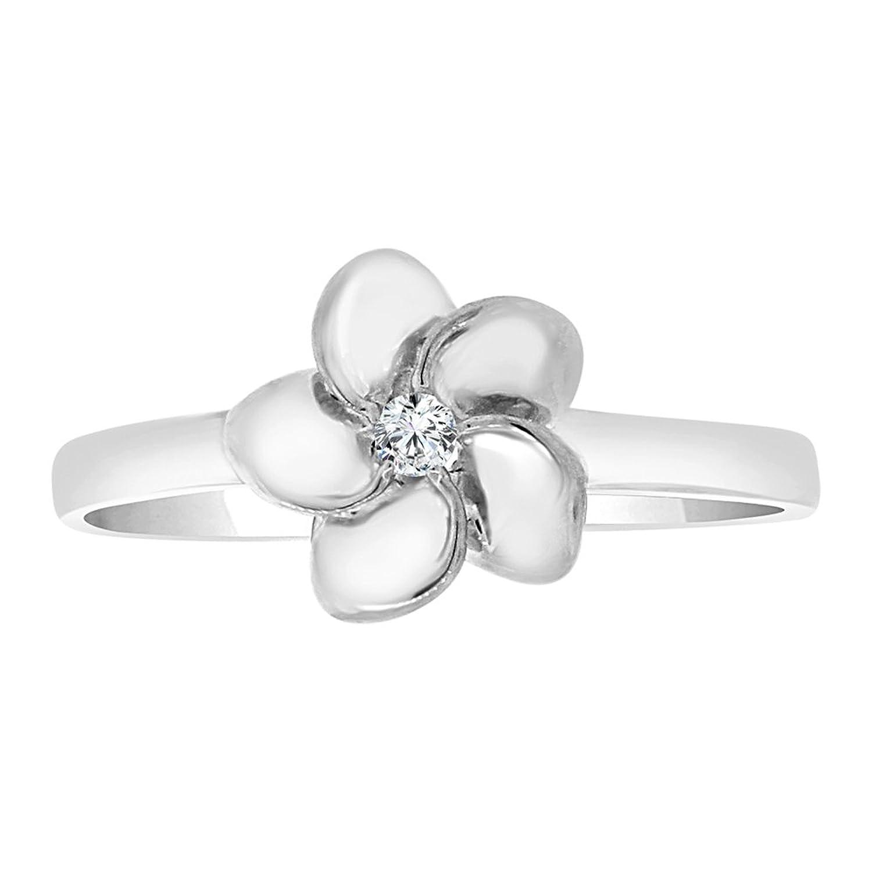 Amazon 14k white gold plumeria hawaiian flower ring lab amazon 14k white gold plumeria hawaiian flower ring lab created cz crystal jewelry izmirmasajfo