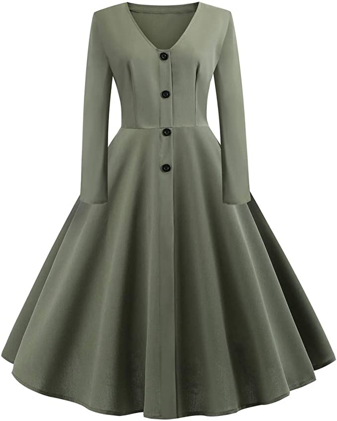 Jan Store Womens 1950s V Neck Botton Long Sleeve Vintage Cocktail Dress Prom Dress At Amazon Women S Clothing Store