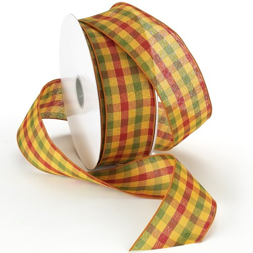 Harvest Green Fabric (Morex Ribbon Autumn Hayride Plaid Wired Fabric Ribbon, Harvest Gold, 2-1/2 In x 50-Yd)