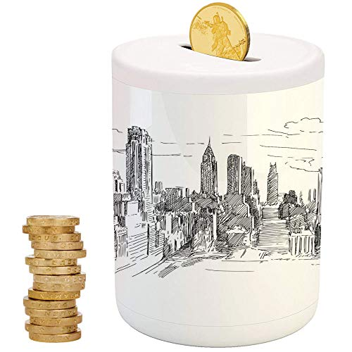 iPrint New York,Ceramic Girl Bank,for Party Decor Girls Kid's Children Adults Birthday Gifts,Hand Drawn NYC Cityscape Tourism Travel Industrial Center Town Modern City -