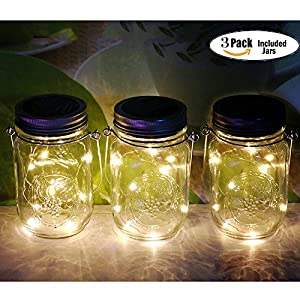 3Pack Solar Mason Jar Lights , LED Solar Lantern, Outdoor Glass Hanging String Lamp, Fairy Decoration for Garden Patio Yard Home Party (3Pack Warmwhite)