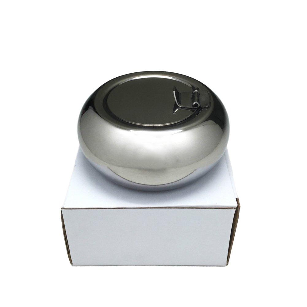 Gioia in acciaio INOX posacenere tamburo a forma rotonda posacenere Daily antivento coperchio copertura portasigarette unbreakable posacenere smoking cenere supporto da tavolo per casa ufficio bar KTV