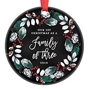 "Our First Christmas as a Family of Three, 1st Christmas Ornament 2019 Baby Shower Gift New Parents Pregnancy Present Ceramic Wreath Keepsake Present 3"" Flat Circle Porcelain with Red Ribbon & Free Box 62"