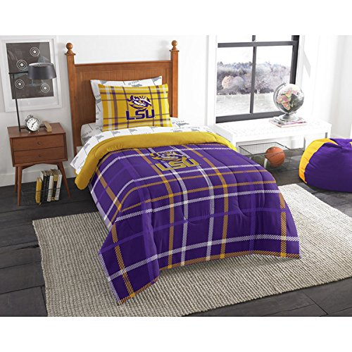 5 Piece Twin NCAA COL LSU Tiger Comforter Set, Purple Yellow, Sports Patterned Bedding, Featuring Team Logo, LSU Tiger Merchandise, Team Spirit, College Football Themed, Polyester Material