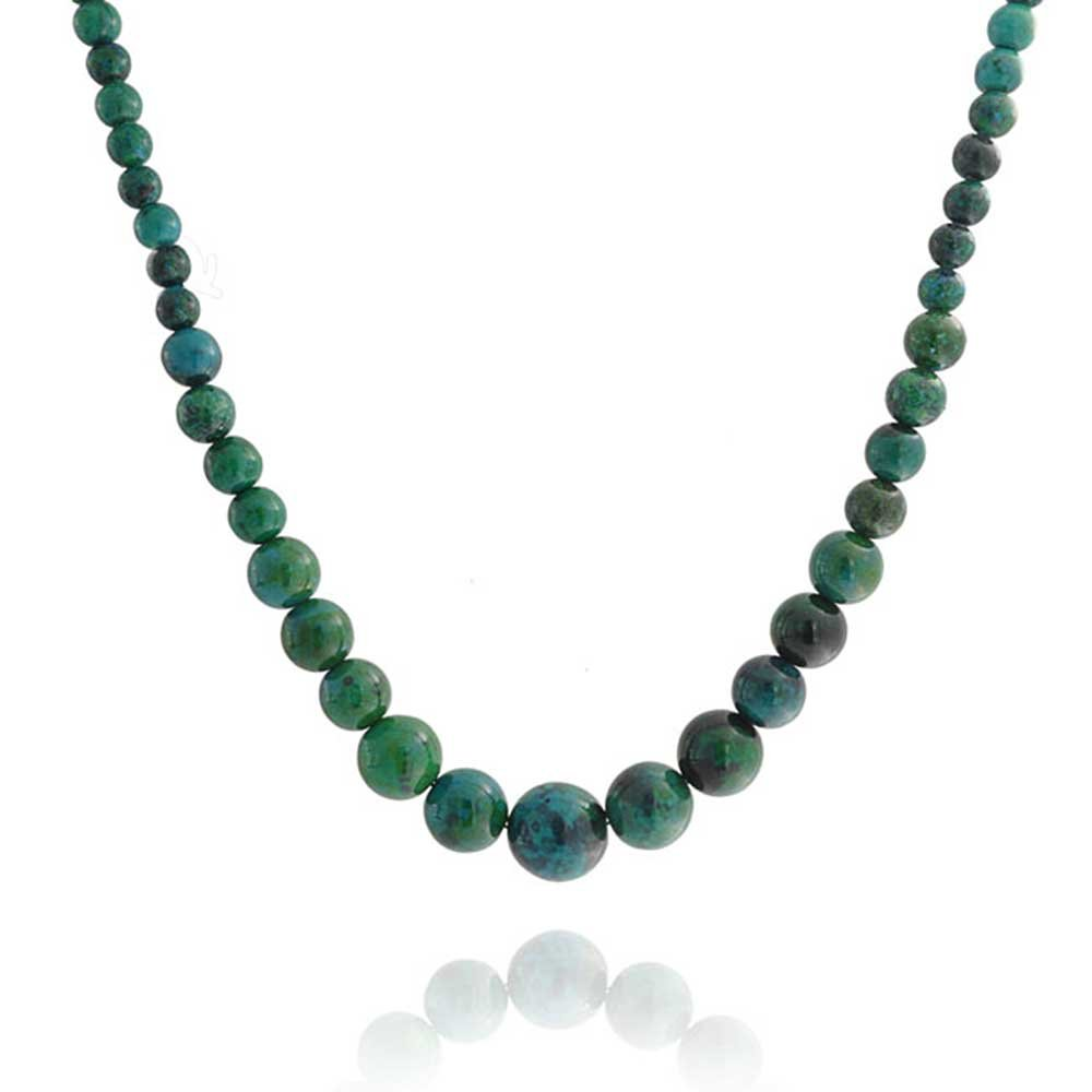 Bead Strand Necklace Created Turquoise Graduated Silver Plated Brass 18 Inches