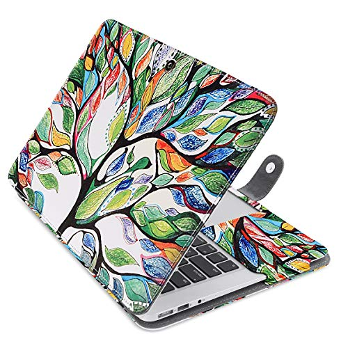 MOSISO PU Leather Case Only Compatible MacBook Air 13 Inch A1466/A1369 (Older Version Release 2010-2017), Premium Quality Book Folio Protective Stand Cover Sleeve, Love - Tree Inch 13