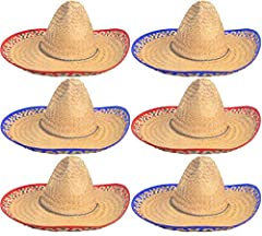 This package contains 6 large sombrero hats. Hats comes with a variety of different designs on them, you will get 3 red and 3 blue as pictured! Show Your Spanish Style in This Comfortable Hat for Men or Women!