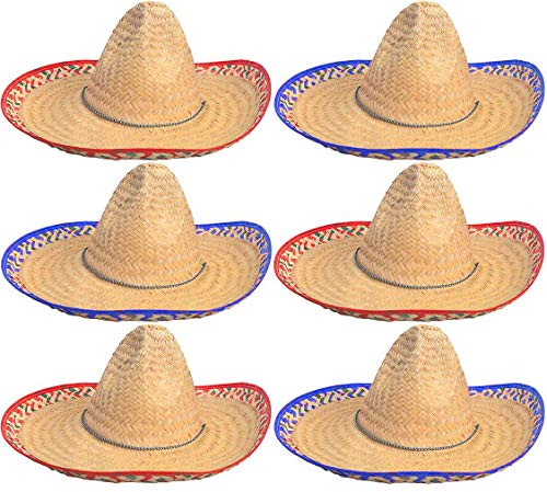 Sombrero Hats Bulk 6 Pack- Fits Most - For Men And Women - Great For Cinco de Mayo or a Fiesta theme party Costume By 4E's Novelty
