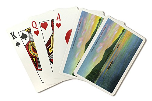 Lake George, New York - Bolton Landing View of Couples Canoeing (Playing Card Deck - 52 Card Poker Size with Jokers)