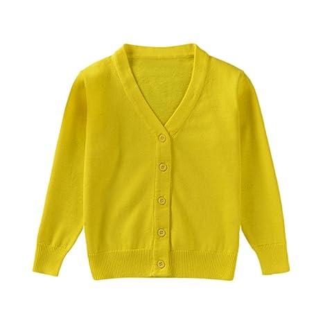 000c1af5feadd Aliciga セーター シンプル 無地 Vネック カーディガン 長袖 ニット (全6色) 子供服