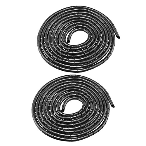 uxcell 2pcs 14mm Flexible Spiral Tube Cable Wire Wrap Computer Manage Cord Black 4.5-6M 18' Polyethylene Sleeve