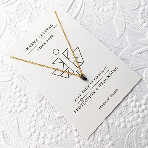 faite à la main, Or Noir onyx Karma Unique Cristal Collier | minimaliste, aux bijoux