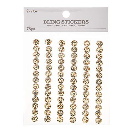 Darice 30053465 Bling Cheetah Print Rhinestone, 8mm, 78 Pieces Stickers ()