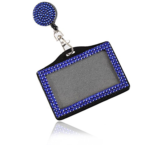 Purely Handmade Fashion Retractable Royal Blue Bling Crystal Strap Neck Lanyard Cute Rhinestone Badge Holder+Jeweled Horizontal Business Name ID Card Holder+Beaded Badge Reel Clip (Badge Jeweled Reel)