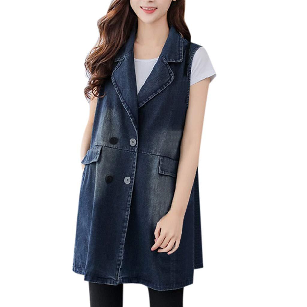Fshinging Women Denim Vest Coat Casual Jacket Coat Slim Fit Sleeveless Button Outwear Tops{Blue,M} by Fshinging