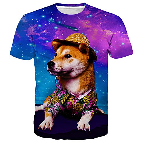 Hgvoetty Unisex Funny Dog T Shirt 3D Graphic Tees for Men M Dog Graphic T-shirt Tee