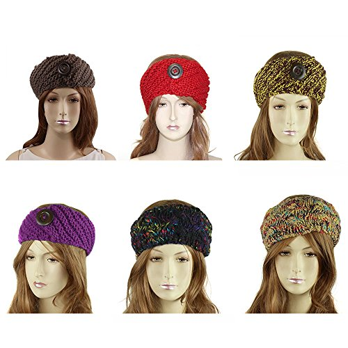 Wholesale Pack of 6 Hand Knitted Crochet Headbands Button or Rosette or Braided