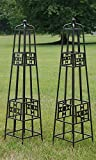 Panacea Rustic Farmhouse Quilt Obelisks, Rust, 48'', Pack of 2