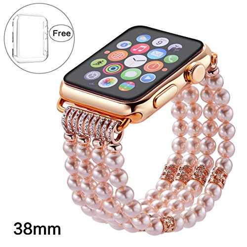 Pintaik for Apple Watch Band 38mm 42mm, 2018 New Fashion Crystal Beaded Elastic Bracelet Women Girl Bands and Case for Iwatch Series 3/2/1 Luxury Bling Watch Strap and Case Gift (Pearl Sports Wrist Watch)