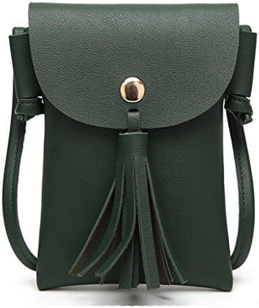 ショルダーバッグの韓国語バージョンファッショナブルな磁気バックルタッセルバッグメッセンジャーバッグの電話の財布 (Color : Green)