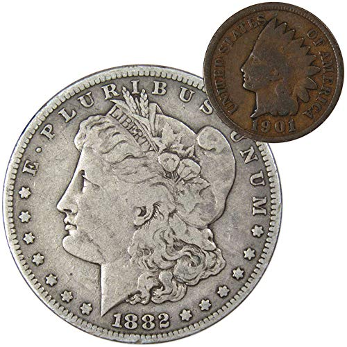 1882 S Morgan Silver Dollar F-Fine with 1901 Indian Head Cent Good