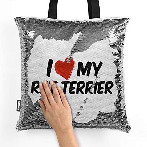 NEONBLOND Mermaid Tote Handbag I Love my Rat Terrier Dog from United States Reversible Sequin