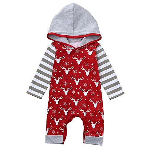Baby Boy Dress Up Outfits (Arleysh Newborn Baby Boys Girls Long Sleeve Christmas Deer Print Striped Romper (6-12 Months))