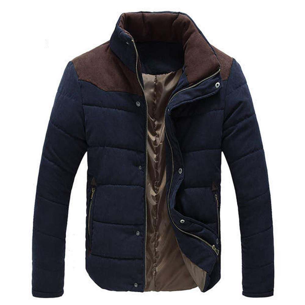 Sunyastor Mens Winter Warm Leisure Stand Collar Fashion Cashmere Outwear Pocket Coats Parka Jacket Men